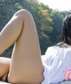 Raven Riley, brunette, latin, strip, outdoors, boat, piercing, tattoo