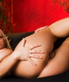 Bree Olson, blonde, strip, lingerie, couch, heels