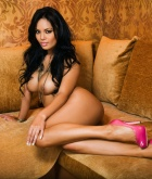 Justene Jaro, brunette, strip, couch, Filipino, busty