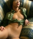 Isabella A, brunette, strip, shirt, couch, heels