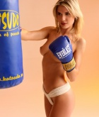 Iveta Vale, blonde, topless, thong, boxing, gloves