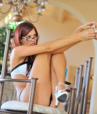 Jayden Cole, redhead, strip, lingerie, glasses, heels