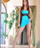 Jayden Cole, redhead, strip, dress, heels