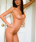 Orsi Kocsis, brunette, nude, pose, doorway