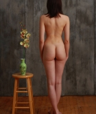 Jacqueline, brunette, nude, chair, flowers