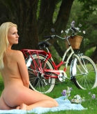 Ashley, blonde, strip, bicycle, picnic, skirt, outdoors