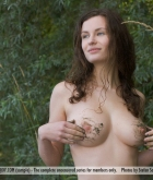 Susann, brunette, nude, pose, busty, wet, lake