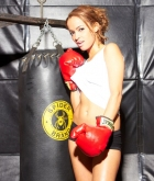 Exotic Sabrina, blonde, strip, boxing, ass, workout