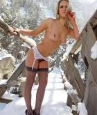 Candice, blonde, strip, topless, lingerie, snow, ass