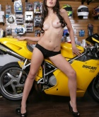 Autumn Riley, brunette, strip, topless, motorbike, ass