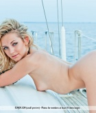 Niki Mey, blonde, nude, ass, boat, hat, sunglasses