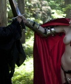 Brea, blonde, nude, busty, sword, cape, armour, wraith