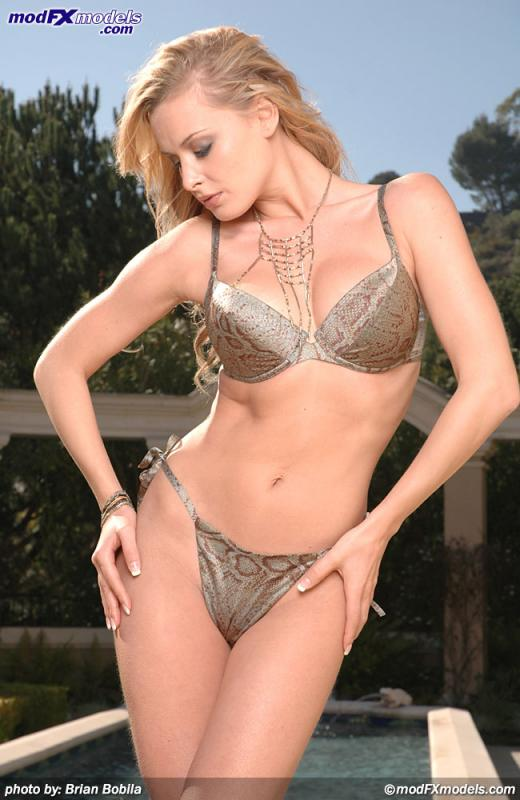 Zdenka Podkapova, blonde, lingerie, outdoors, strip
