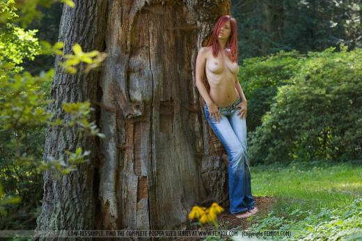 Gabriella Lupin, redhead, nude, outdoors, jeans, tree