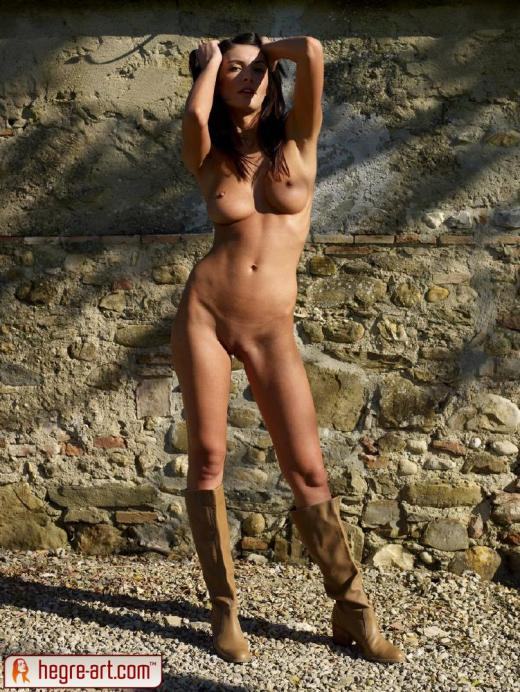 Orsi Kocsis, brunette, nude, outdoors, boots