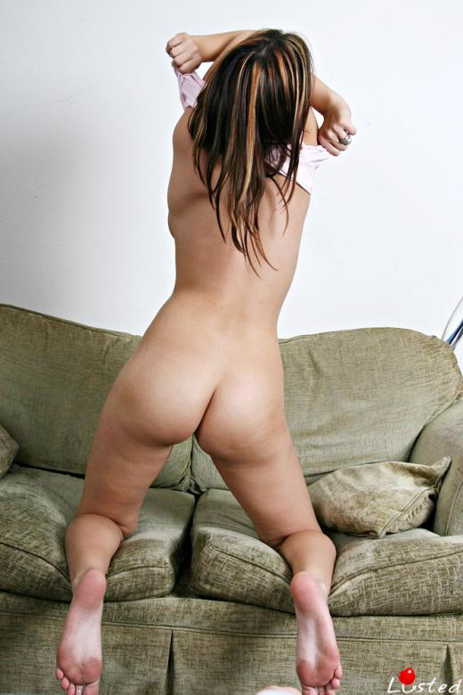 Arika Foxx, brunette, strip, piercing, couch