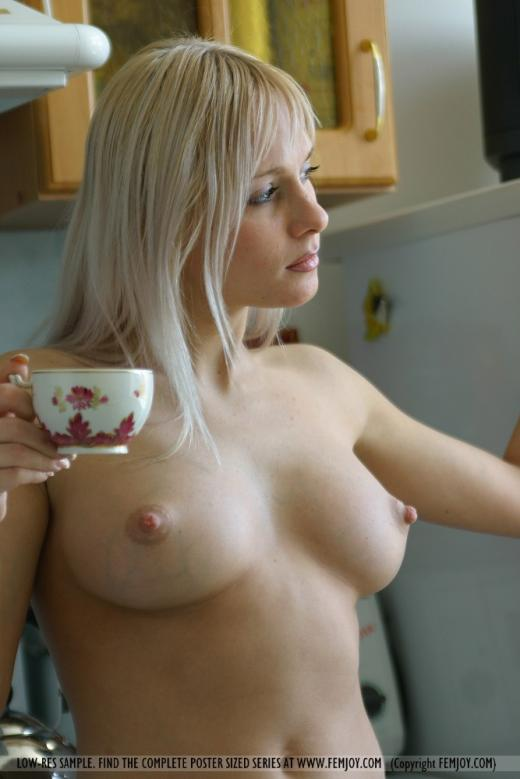 Yanina, blonde, nude, kitchen, window
