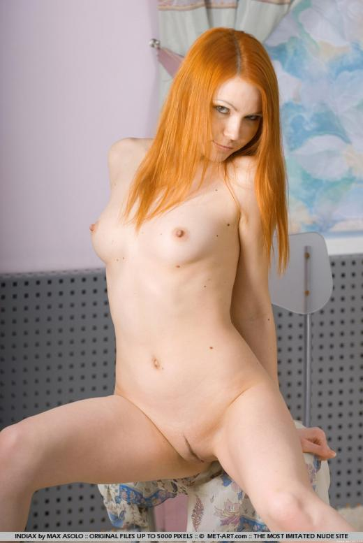 Lidiya, redhead, nude, sheer, chair