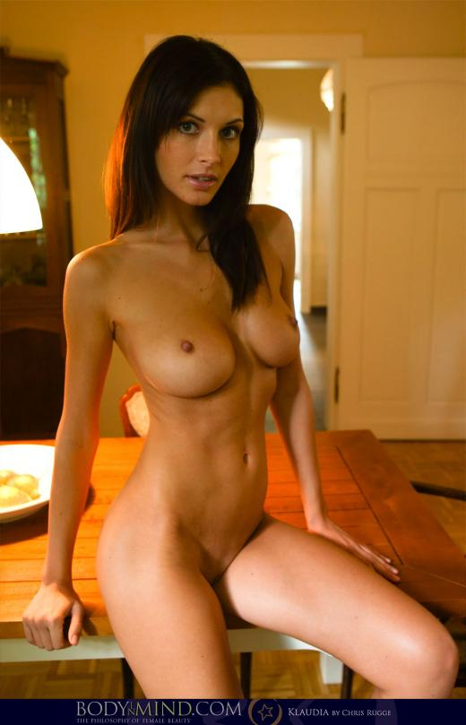 Orsi Kocsis, Klaudia, brunette, nude, table, doorway