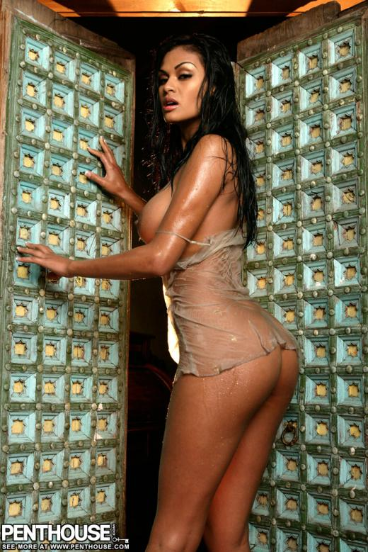 Carmen Reyes, brunette, strip, negligee, wet, doorway