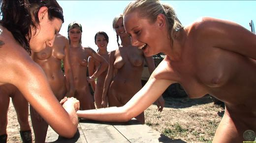 Nude, boot camp, arm wrestle, hat, outdoors