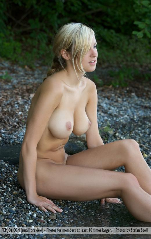 Corinna, blonde, nude, outdoors, lake, wet