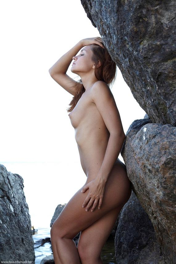 Lilly, blonde, nude, sea, outdoors, rocks