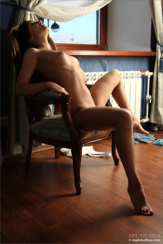Katja, brunette, strip, window, chair, skirt