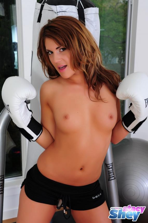 Stacy Shey, brunette, strip, boxing, gloves