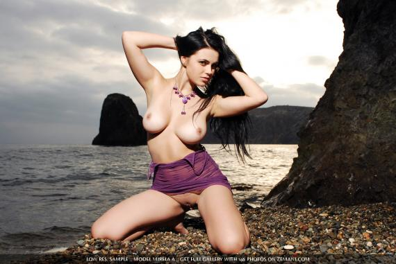 Mirela A, brunette, strip, busty, dress, sea