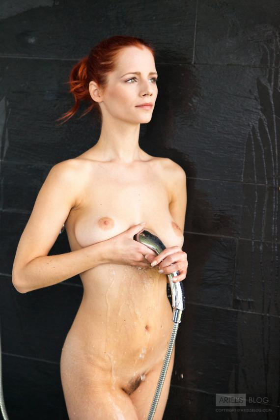 Gabriella Lupin, redhead, nude, shower, wet