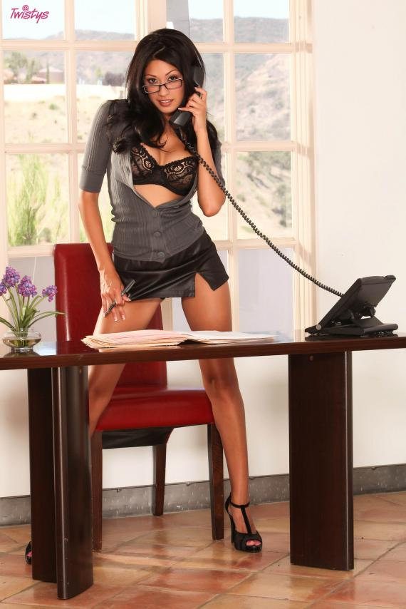 Jasmine Foxx, brunette, strip, glasses, secretary