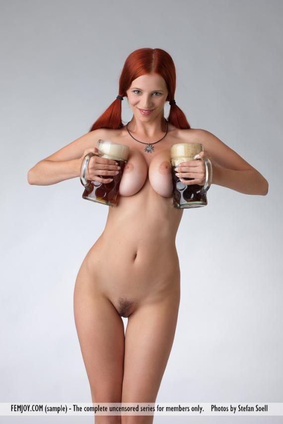 Curious question Girl nude with beer have hit