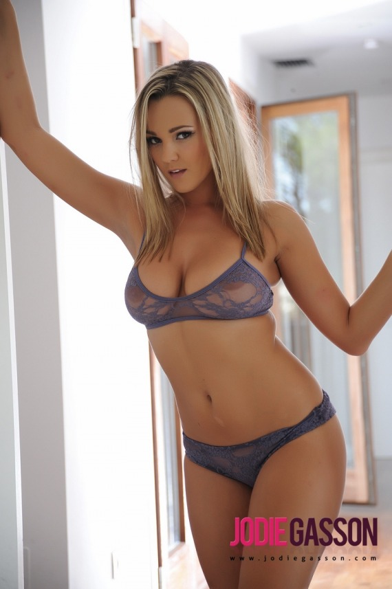 Jodie Gasson, blonde, strip, topless, busty, lingerie