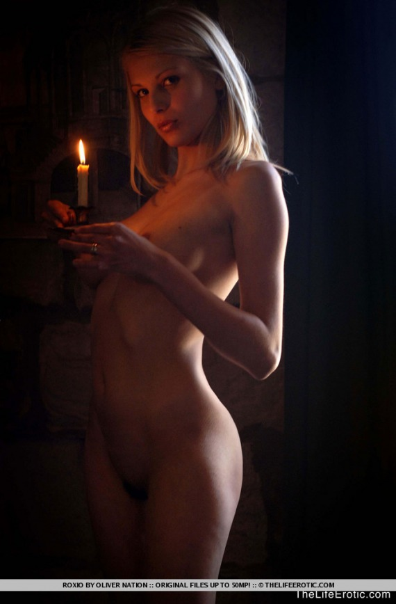Roxio, blonde, strip, nude, candle, busty