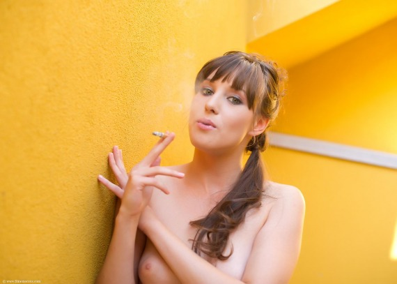 Nolita, brunette, strip, nude, perky, smoking