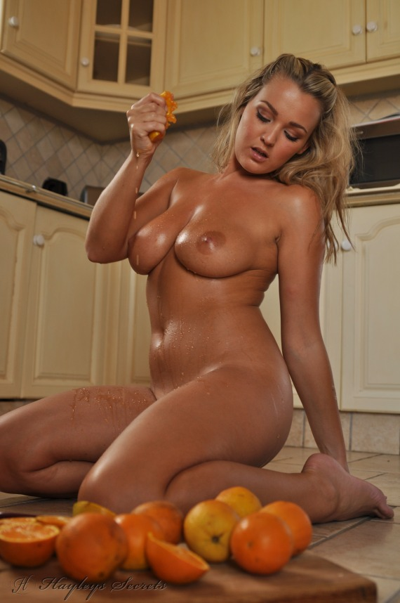 Jodie Gasson, blonde, strip, nude, busty, ass, oranges