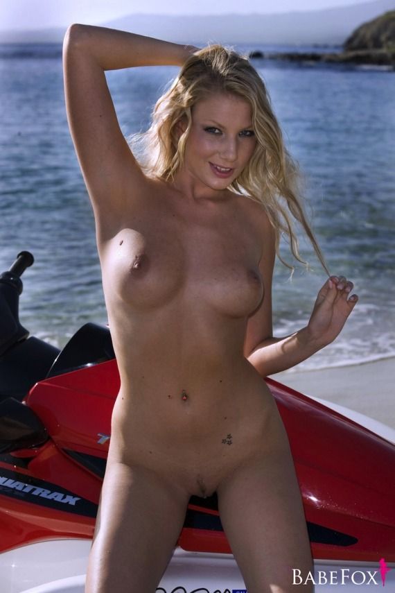 Danielle Maye, blonde, strip, nude, ass, jet ski