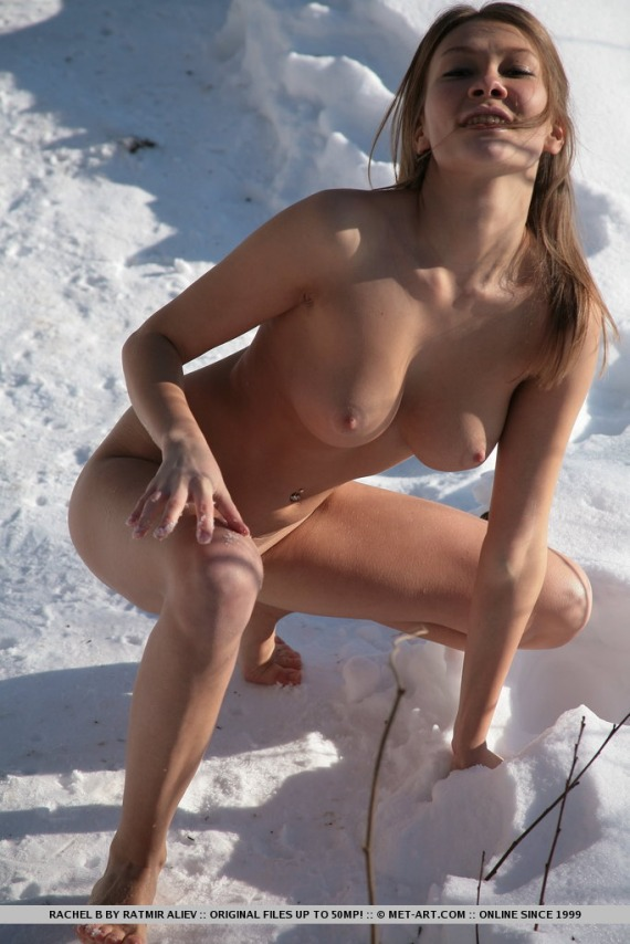 Rachel B, brunette, nude, busty, ass, snow, boots