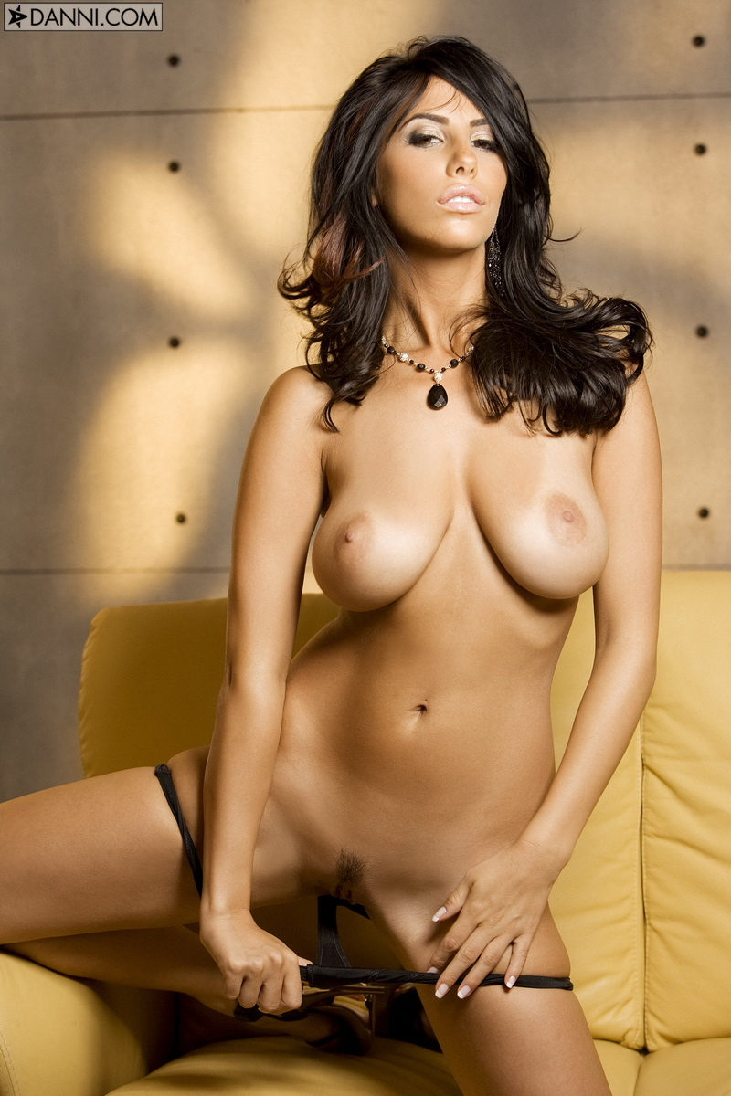 Jaime Hammer, brunette, strip, thong, couch