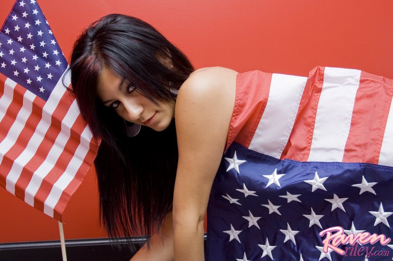 Raven Riley, brunette, strip, piercing, flag, latin
