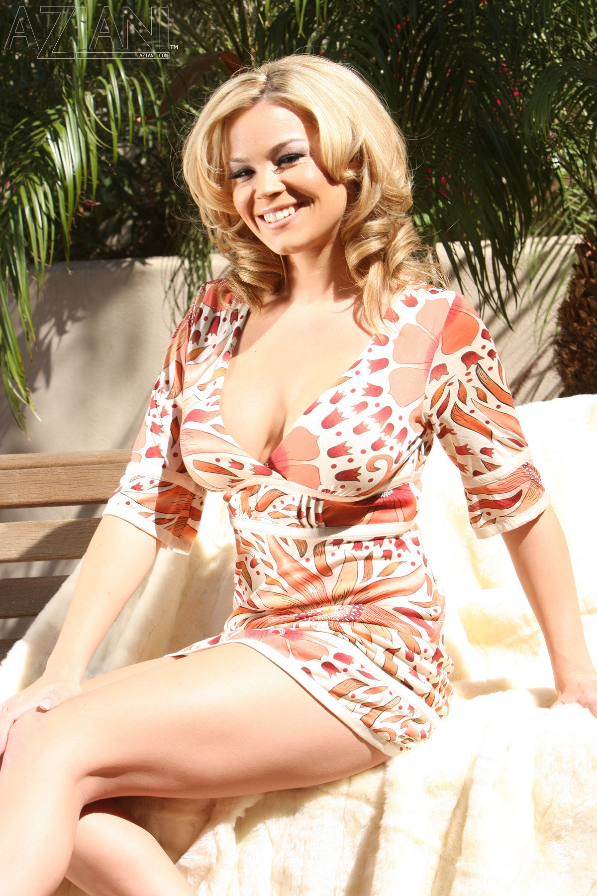 Brea Lynn, blonde, strip, busty, dress, outdoors