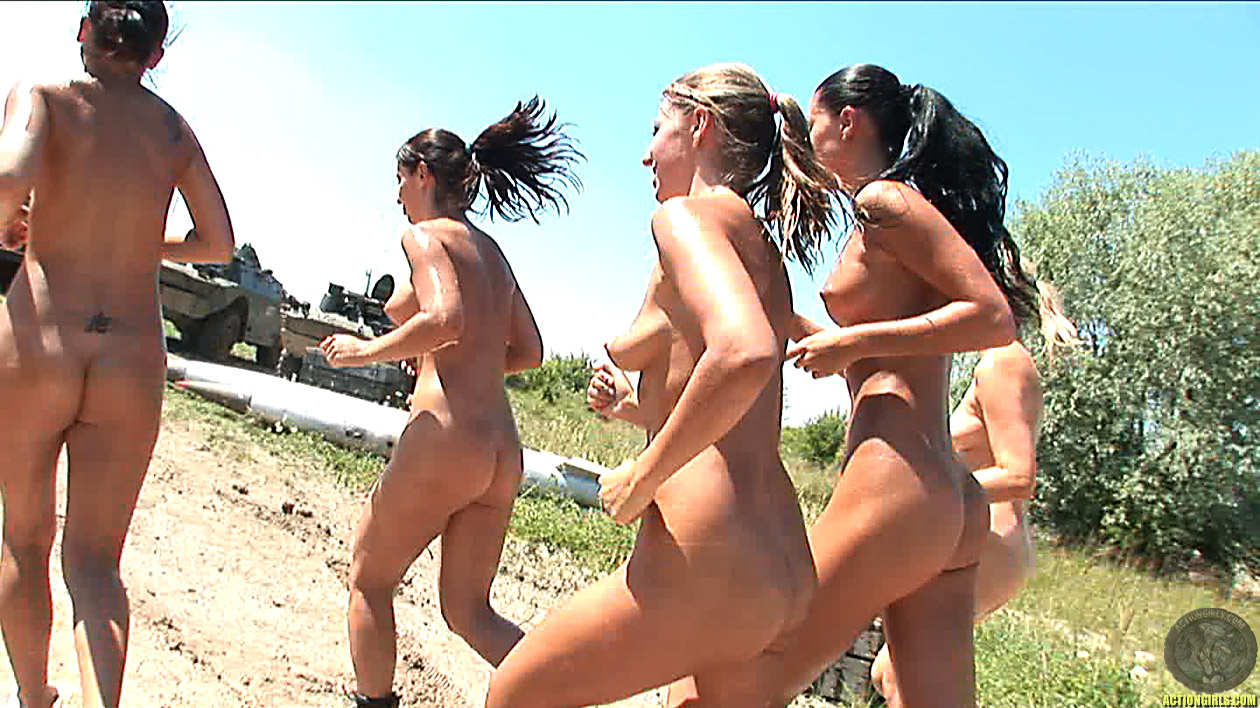nude runing nude, outdoors, push up, running, boot camp