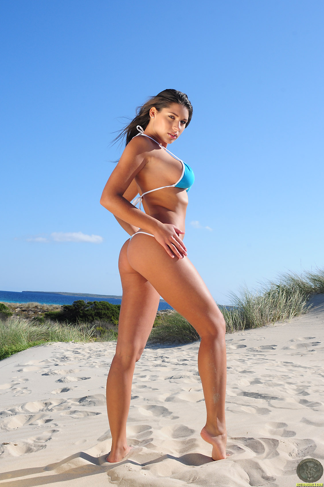 Zafira, brunette, strip, bikini, sand, beach