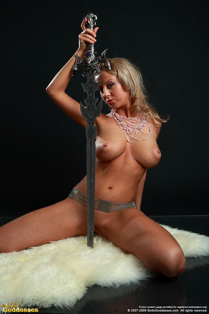 Sabina, blonde, nude, sword, belt, necklace, rug