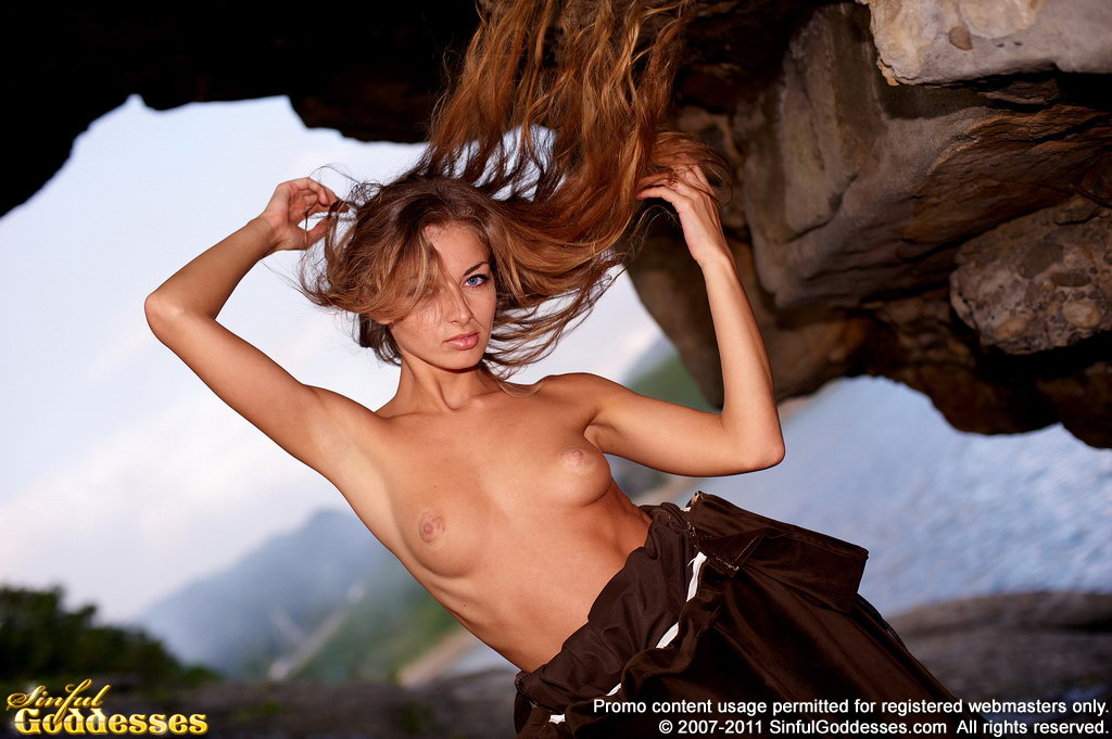 Kira, brunette, strip, dress, coast, balls, pose
