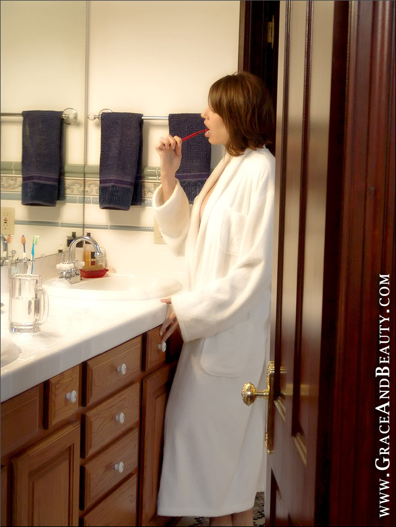 Lara, brunette, strip, nude, robe, toothbrush, uggs