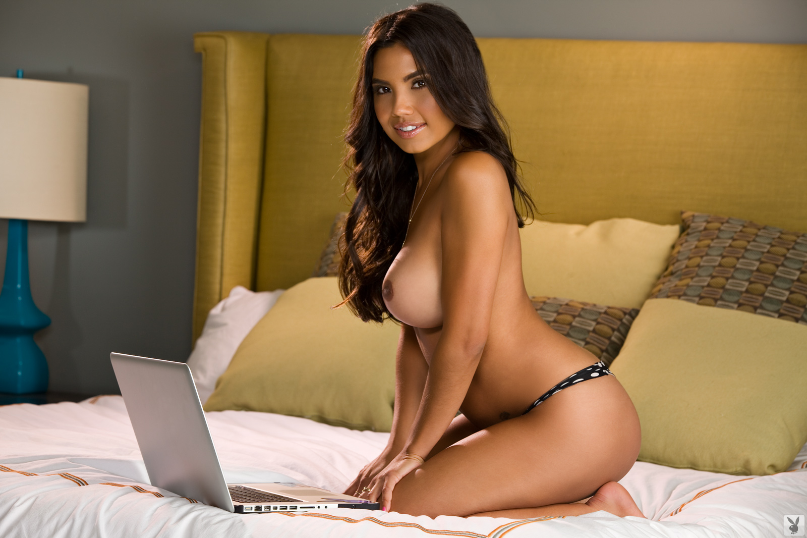 Berlin Scott, brunette, strip, nude, busty, laptop