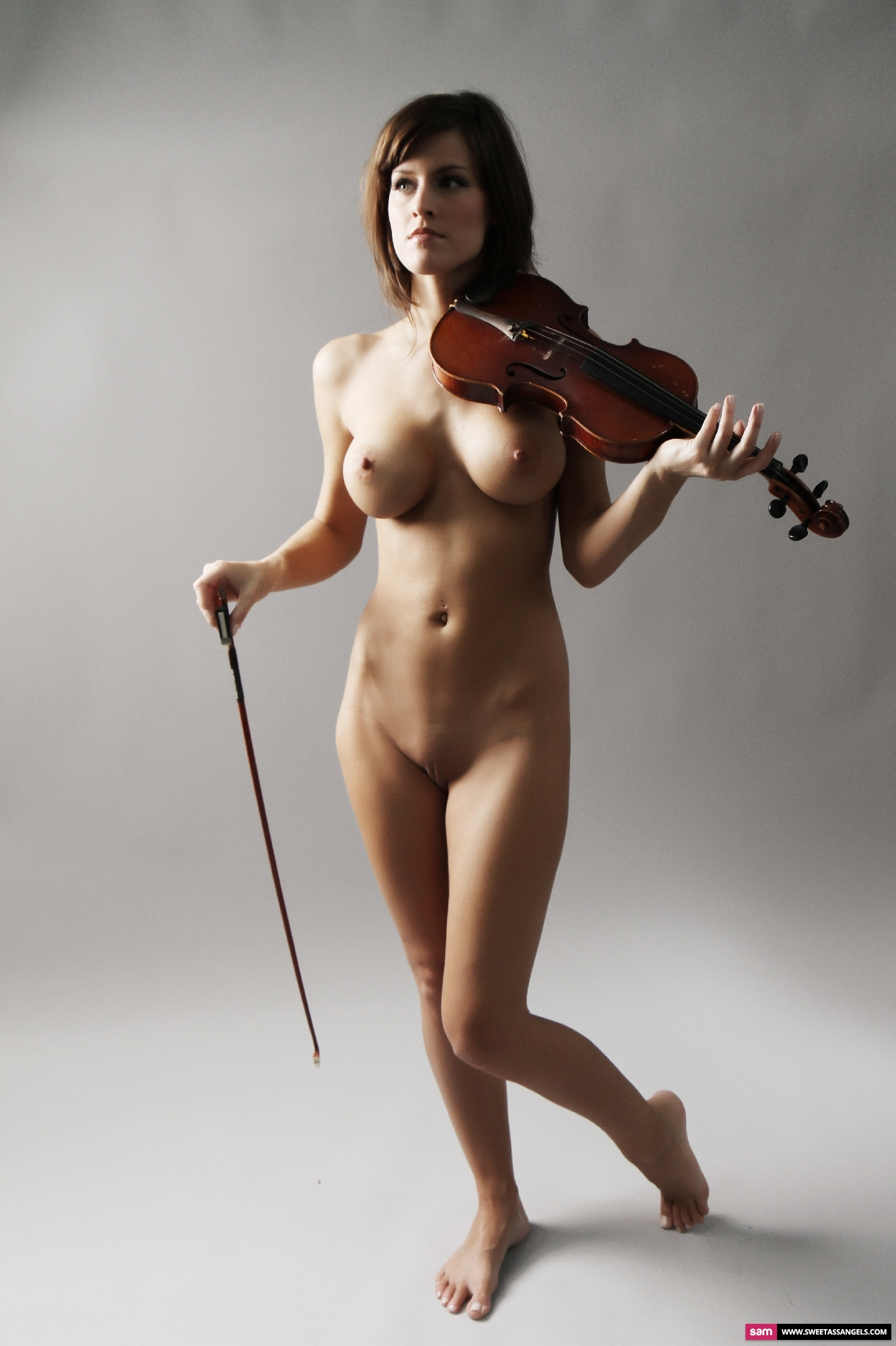 Woman sexy violin nude playing