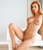 Justyna, redhead, nude, strip, ass, shaved, tattoo